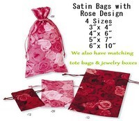Satin Favor Bags With Rose Design, 6