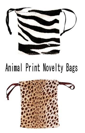 """Velvet Animal Print Pouch  Bags, 2 3/4"""" x 3"""", Leopard or Zebra Design, 12 Pk"""