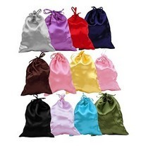 Satin Drawstring Jewelry Pouch, 3'' x 3 1/2'', 12 Colors, 12 Pk Mixed