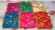 "Silk Brocade Gift Pouch with Zipper and Snap, 5 1/2""x 3 1/2"" Mixed Colors, 12 Pk"
