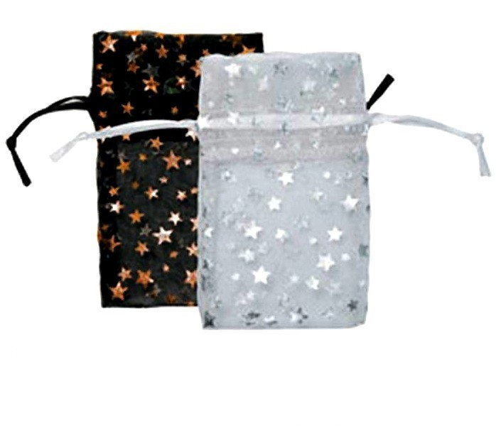 Organza Drawstring Pouches, Star Design, 1 3/4''W x 2''H, 12 Pk