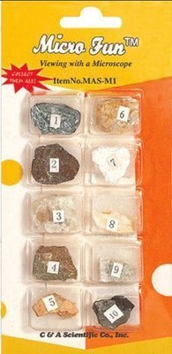 Mineral Collection Set, 10 Different Minerals on a card, Priced per set