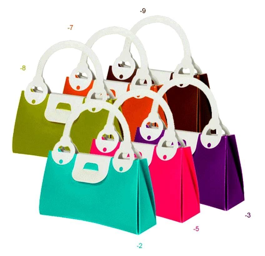 "Handbag Shape Plastic Box, 4""x 1 1/4""x 2 3/8"", 8 Colors to Choose form, 12 Pk"