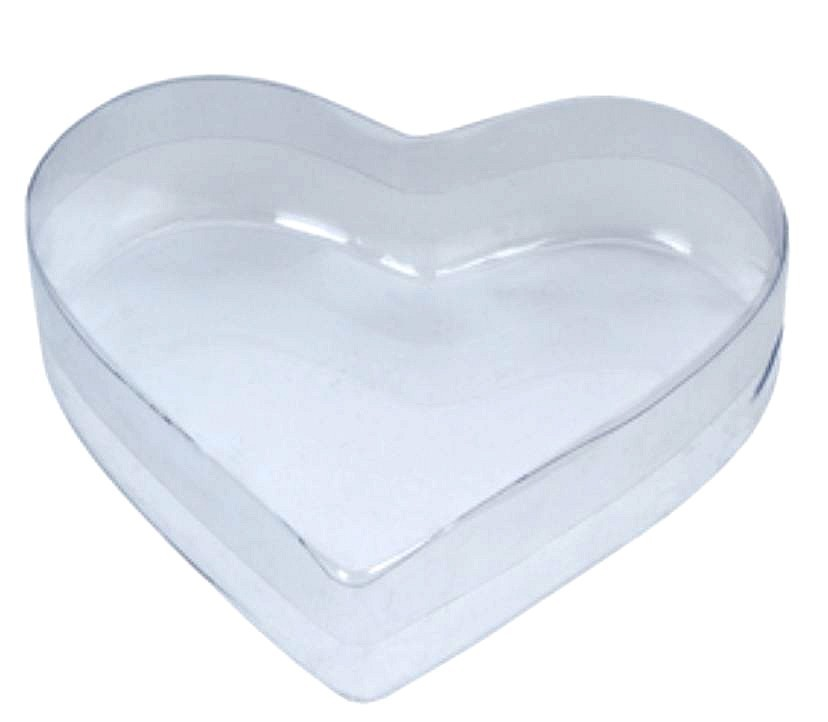 """Heart Shape Plastic Clear Container, 5""""x 4 1/2""""x 1 1/2""""H, 12 Pk"""