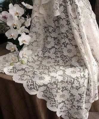 Ivory Lace Table Cover with floral design, 54