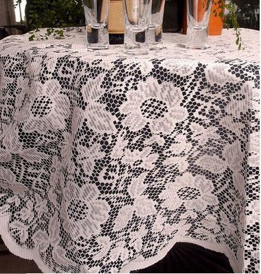 Ivory Lace Round Table Cover with Floral Design, 60