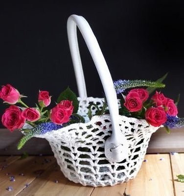 Lace Basket with Handle, 8 1/2
