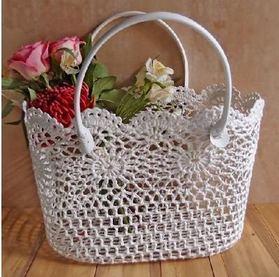 "Lace Basket with Handle, 15""x 10 1/4""x 9 1/2""H, Priced Each"