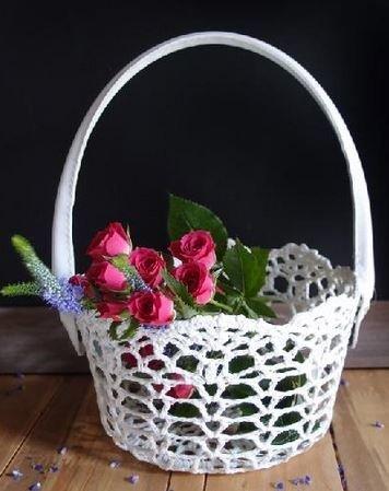 "Lace Basket with Handle, 4""x 5""H, Priced Each"