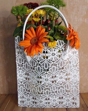 "Lace Basket with Handle, 10 1/2""x 4""x 11""H, Priced Each"