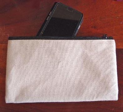 "Natural Canvas Flat Zipper Pouch, 9 1/4""x 5"", Priced Each"