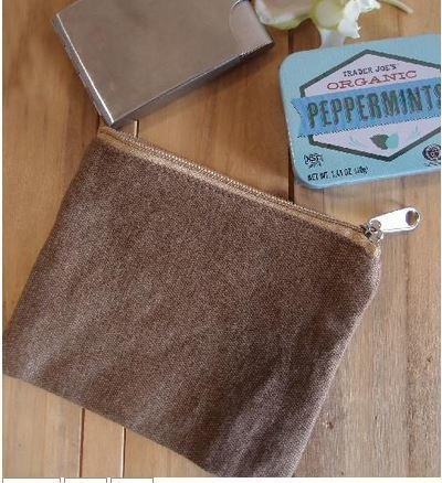"Washed Brown Canvas Flat Zipper Pouch, 5 1/2""x 4 1/2"", Priced Each"