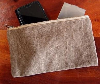 "Washed Brown Canvas Flat Zipper Pouch, 9 1/2""x 5"", Priced Each"