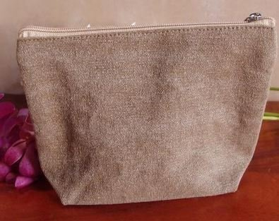 "Washed Brown Canvas Gusset Zipper Pouch, 10""x 7""x 3""guss, Priced Each"