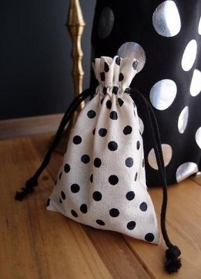 Cotton Gift Favor Bags With Black Dots, 3 1/3