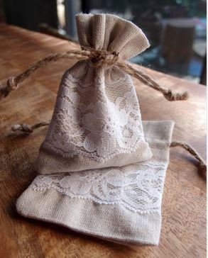"Linen Gift Bags with Lace, 3""x 4"", Priced Pr 6 pack"