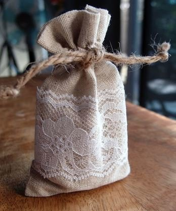 "Linen Gift Bags with lace, 3""x 5"", Price Per 6 Pack"