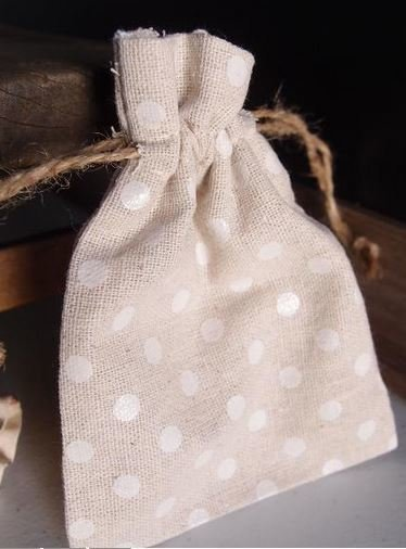 """Linen Gift Bags with White Polka Dots, 3 1/2""""x 5"""", Priced Per 6 Pack"""
