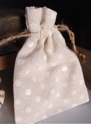 Linen Gift Bags with White Polka Dots, 3 1/2