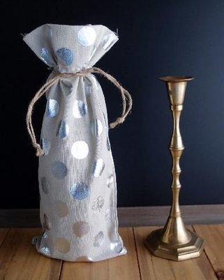 Linen Wine Bags with Silver Polka Dots, 3 1/2