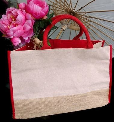 "Jute and Cotton Blend Tote Bag with Red Burlap Accents, 17 1/2""x 8 1/2""x 11 1/2""H, Priced Each"