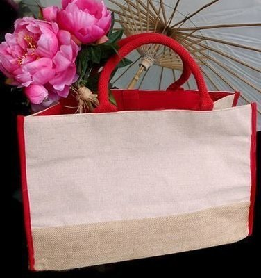 Jute and Cotton Blend Tote Bag with Red Burlap Accents, 17 1/2