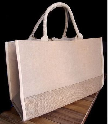 Jute and Cotton Blend Tote Bag with Natural Burlap Accents, 17 1/2
