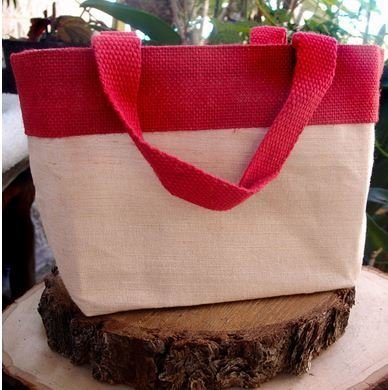 "Jute and Cotton Blend Tote Bag with Red Burlap Accents, 11 1/2""W x 7 1/2""H x 4 1/2""D, Priced Each"