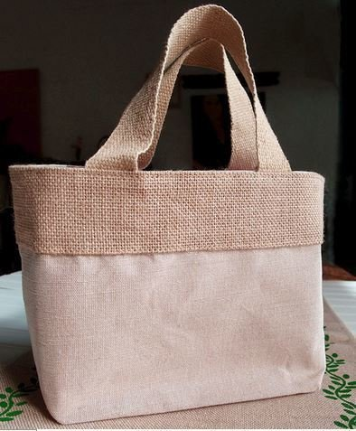 """Jute and Cotton Blend Tote Bag with Natural Burlap Accents, 11 1/2""""W x 7 1/2""""H x 4 1/2""""D, Priced Each"""