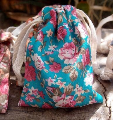 "Vintage Floral Print on Light Blue Bag with Cotton Drawstrings, 3""x 4"", Priced Per 4 Pack"
