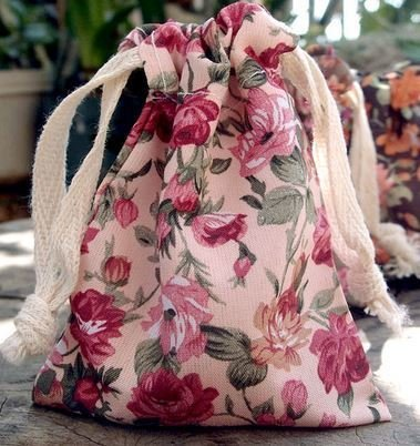 """Vintage Floral Print on Ivory Bag with Cotton Drawstrings, 3""""x 4"""", Priced Per 4 pack"""