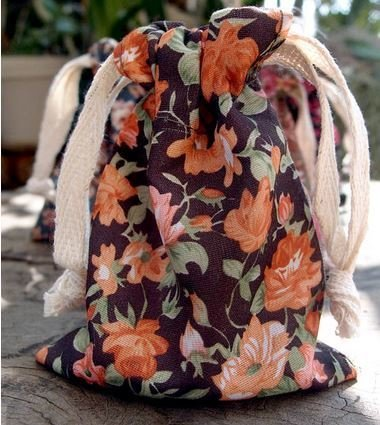 "Vintage Floral Print on Black Bag with Cotton Drawstrings, 3""x 4"", Priced Per 4 Pack"