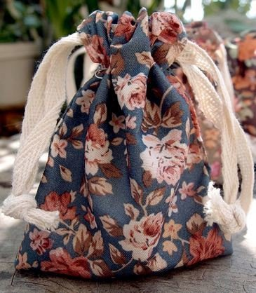 """Vintage Floral Print on Blue Bag with Cotton Drawstrings, 3""""x 4"""", Priced Per 4 Pack"""
