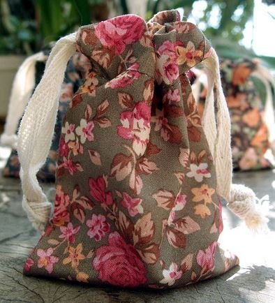 """Vintage Floral Print on Brown Bag with Cotton Drawstrings, 3""""x 4"""", Priced Per 4 Pack"""