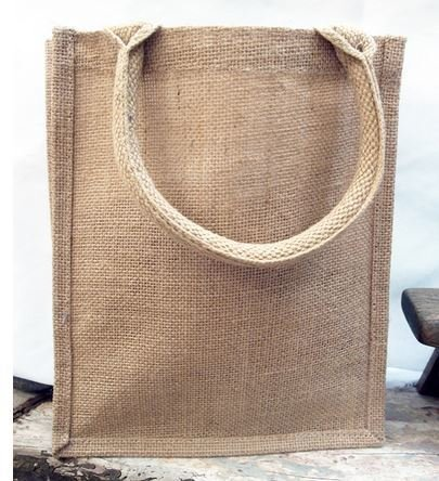 "Jute Shopping Totes, natural Color, 12""x 7 3/4""x 12""H, Priced Each"