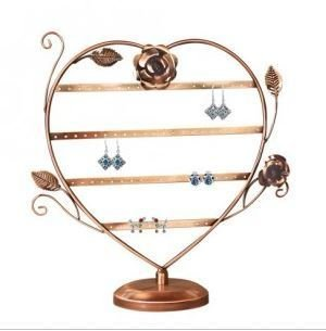 """Metal Earring Display, Heart with Roses, 11""""W x 13 1/2""""H, Copper or Antique Silver Finish, Price Each"""