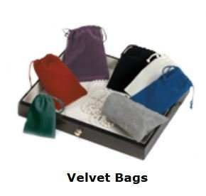 """Velveteen Bags with Drawstring, 4""""x 5 1/2"""", 13 Different Colors to Choose From, Priced Per 12 Pack"""