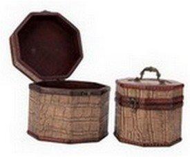 Vintage Style Crocodile Pattern Wooden Octagon Box ,Set of 2, Priced Per Set