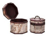 Vintage Style World Map Pattern Wooden Octagon Box , Set of 2, Priced Per Set