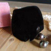 Small Velvet Jewelry Holder, Black, 1 5/8