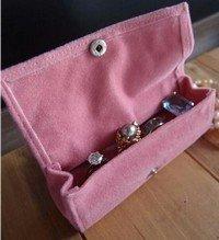 Large Velvet Jewelry Holder, Pink, 4 3/4