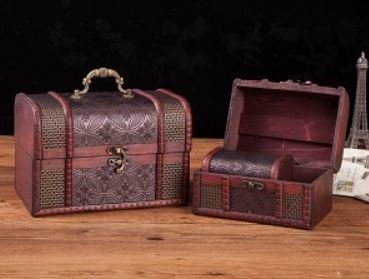 Vintage Style Wooden Embossed Flower Pattern Boxs, Set of 3 , Priced Per Set