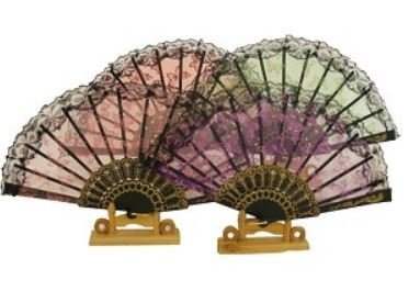 "Decor Fans, Embroidery Pictures with Sequin, 15"" Open, 12 Pk Assorted"