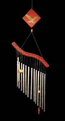 """Aluminum and Wood Wind Chime with Eagle, 26""""H x 8""""W, Priced Each"""
