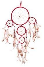 """Traditional 5 Circle Dream Catcher, Red, 22"""" Long, Priced Each"""