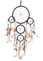 """Traditional 5 Circle Dream Catcher, Black, 22"""" Long, Priced Each"""