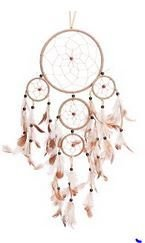 "Traditional 5 Circle Dream Catcher, Beige, 22"" Long, Priced Each"