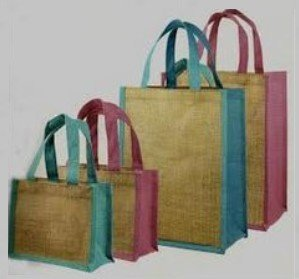 "Jute Shopping totes, 12""W x 14""H x 7""D, Navy Blue Accents, Priced Each"
