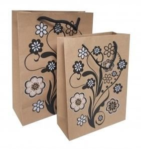 Kraft Paper Gift Bags with Design, 7 1/2