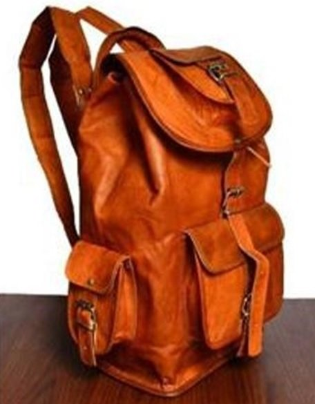 "Leather Backpack with Flap and pockets, 18"" Tall, Priced Each"